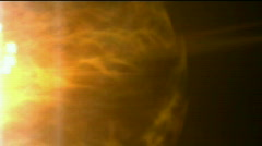Burn sun and stars,golden nebula and whirl laser,energy tech background.Design Stock Footage