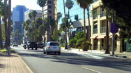 Stock Video Footage of Ocean Boulevard Traffic- Downtown Long Beach CA