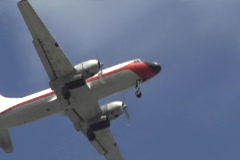 VERY OLD CARGO PROPELLER PLANE from below Stock Footage