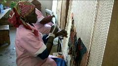 African women weaving Stock Footage