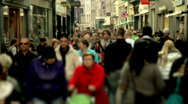 Stock Video Footage of Slow motion shopping crowd blurred (HD PAL)