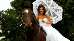 Happy bride sitting on a horse in the park Stock Footage