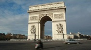 Stock Video Footage of Triumphal Arch, Champs Elysee war memorial in Paris