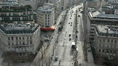 street of wintry Paris, view from Triumphal Arch - stock footage