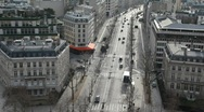 Street of wintry Paris, view from Triumphal Arch Stock Footage