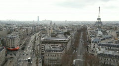 View of Paris city with Eiffel Tower from Triumphal Arch Stock Footage