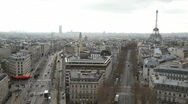Stock Video Footage of view of Paris city with Eiffel Tower from Triumphal Arch