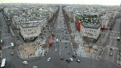 Stock Video Footage of lot of cars and pedestrains on street of Paris, view from Triumphal Arch