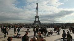 Lot of tourists against Eiffel Tower, Paris, France. Stock Footage