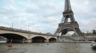 Stock Video Footage of Eiffel Tower and bridge over the Seine river, Paris, France.