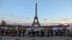 Skating-rink near Eiffel Tower in evening Paris, France Stock Footage