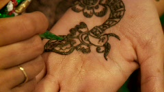 Henna Painting On Hand Stock Footage