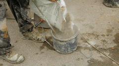 mortar mixer close-up - stock footage