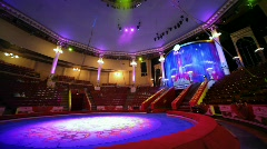 panning of interior of circus with empty arena before performance - stock footage