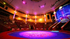 Interior of circus with empty arena before performance Stock Footage