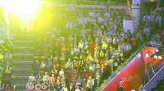 Spectators looks at gymnast under a dome of Old Nikulin Circus on Tsvetnoy Stock Footage