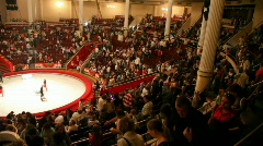 Audience comes out after show in the Moscow Nikulin Circus, Moscow, Russia Stock Footage