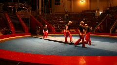 Workers removes mat surface of arena in the Old Nikulin Circus, Moscow, Russia Stock Footage