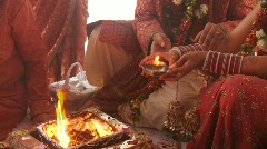 Indian Wedding Ceremony (traditional) with fire - stock footage