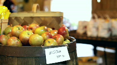 McIntosh Apples for sale at market Stock Footage
