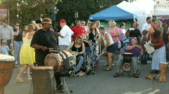 People playing Percussion Instruments at Street Fair Stock Footage