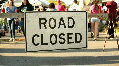 Road closed Sign at Festival Stock Footage