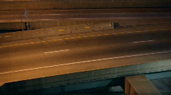 Night Highway Traffic merging lanes Stock Footage