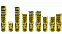 Growing and reducing stacks of coins in line isolated on white loop Stock Footage