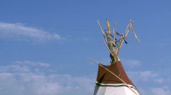 Tipi with blue sky Stock Footage