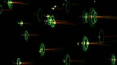 Ripple wave,shake rhythm particle energy,neon fireworks,arrow hitting target. Stock Footage