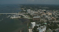 Stock Video Footage of Aerial Clearwater Beach Bridge