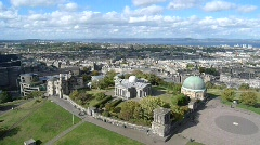 View of Calton Hill & Edinburgh City with Firth of Forth on the Horizon Stock Footage