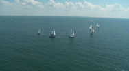 Aerial Sail Boat Regatta 2 Stock Footage