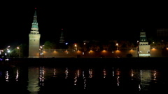 Moscow Kremlin river night landscape with ships Stock Footage