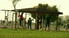 People exercising at a park - stock footage