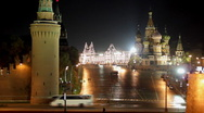 Moscow Kremlin night landscape Stock Footage
