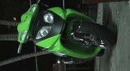 Stock Video Footage of Green Bike - Motorcycle - vertical