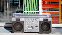 ghetto blaster hifi urban street music - stock footage