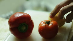 Vegetables cutting Stock Footage