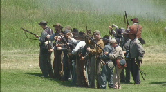 Small Group of Confederate Soldiers Loading and Firing at Will Stock Footage
