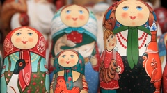 Beautiful Russian wooden dolls, Matryoshka - HD 1920X1080 Stock Footage