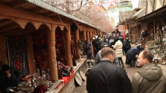 People walking and shopping in Izmailovo flea market in Moscow - HD 1920X1080 Stock Footage