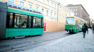 Trams in town Stock Footage