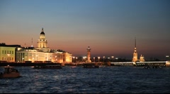 Neva river at white night, St. Petersburg Stock Footage