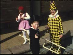 Children's carneval (Vintage 8 mm amateur film) Stock Footage