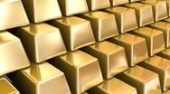 Gold Bars repeatly move  Stock Footage
