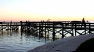 Stock Video Footage of fishing pier at sunset