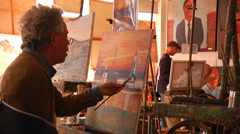 Man Painting in Gallery Stock Footage