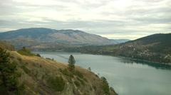 Sweeping Panorama of Kalamalka Lake from HWY97 Stock Footage
