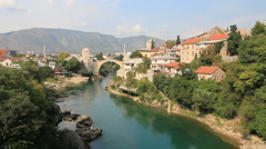 Mostar Old Bridge in Bosnia Stock Footage